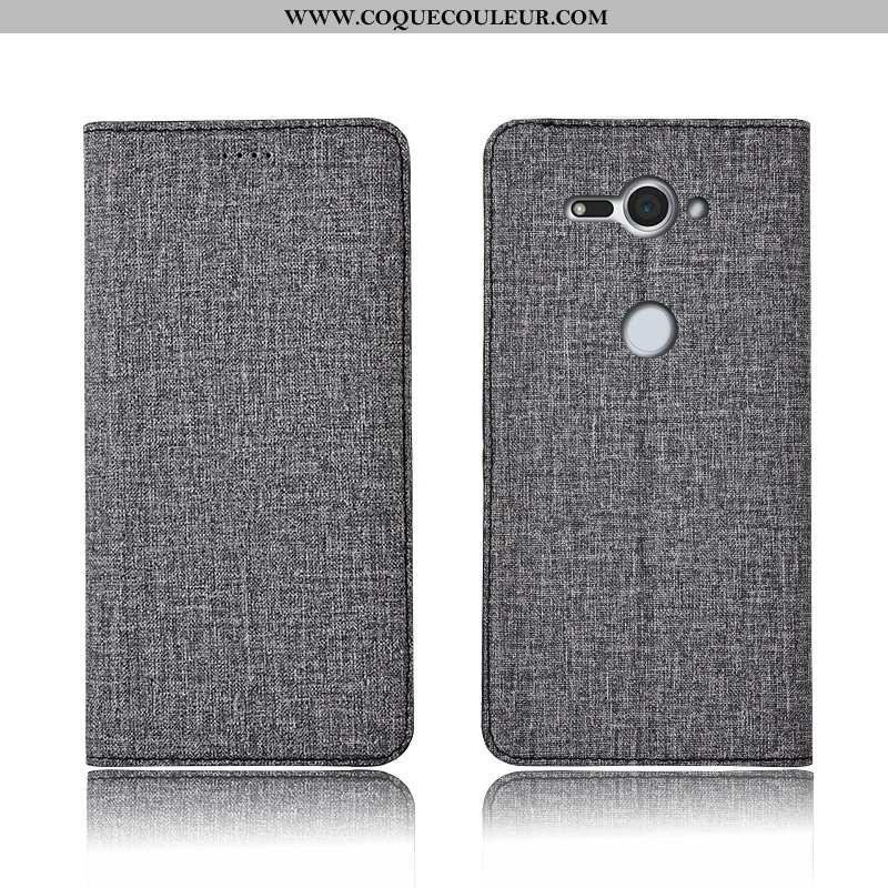 Étui Sony Xperia Xz2 Compact Silicone Cuir, Coque Sony Xperia Xz2 Compact Protection Gris