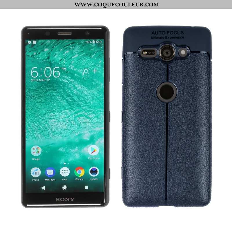Étui Sony Xperia Xz2 Compact Téléphone Portable Bleu Marin, Coque Sony Xperia Xz2 Compact Bleu Foncé