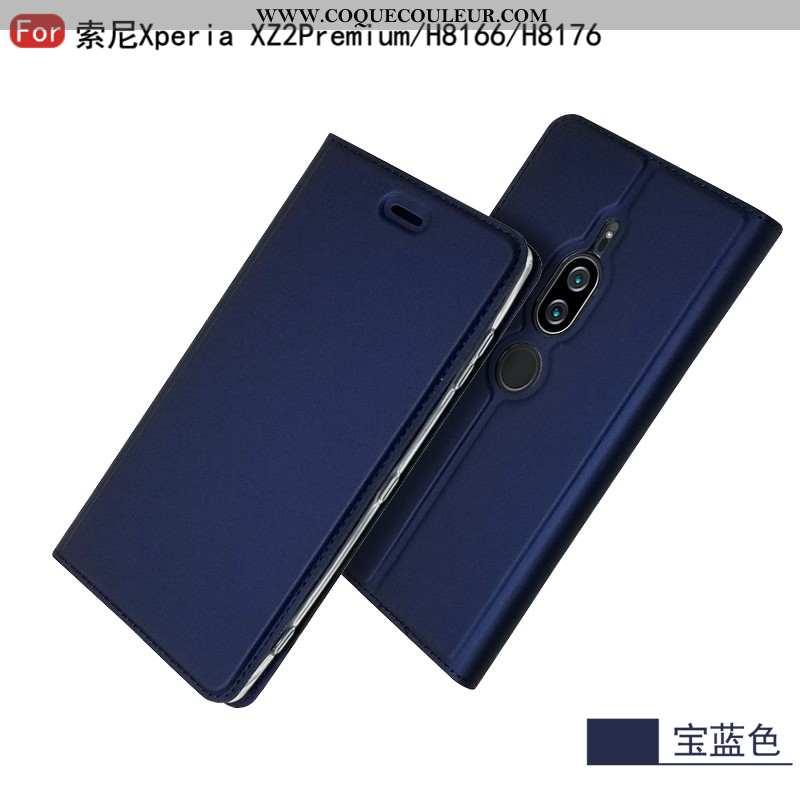 Étui Sony Xperia Xz2 Premium Cuir Étoile Protection, Coque Sony Xperia Xz2 Premium Mode Bleu