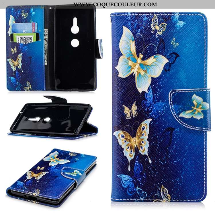 Coque Sony Xperia Xz2 Silicone Tendance Cuir, Housse Sony Xperia Xz2 Gaufrage Étui Bleu Foncé