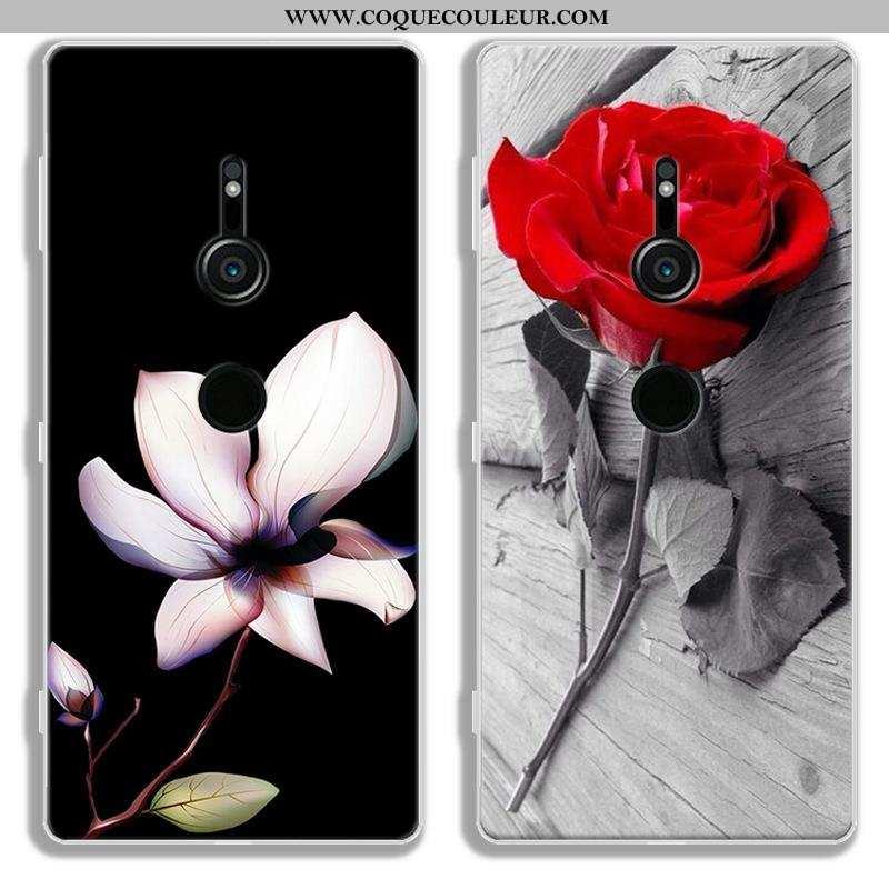 Étui Sony Xperia Xz2 Protection Noir, Coque Sony Xperia Xz2 Dessin Animé Fluide Doux Noir