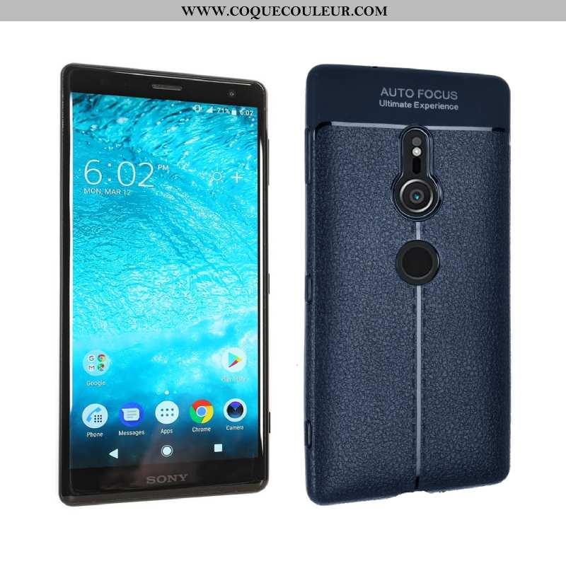 Étui Sony Xperia Xz2 Silicone Bleu Marin Téléphone Portable, Coque Sony Xperia Xz2 Fluide Doux Bleu