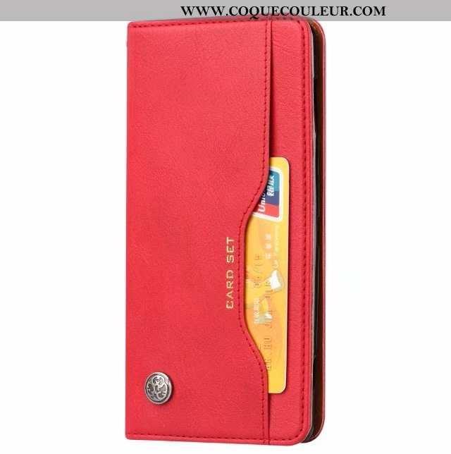 Housse Sony Xperia Xz2 Cuir Étui Rouge, Sony Xperia Xz2 Protection Carte Rouge