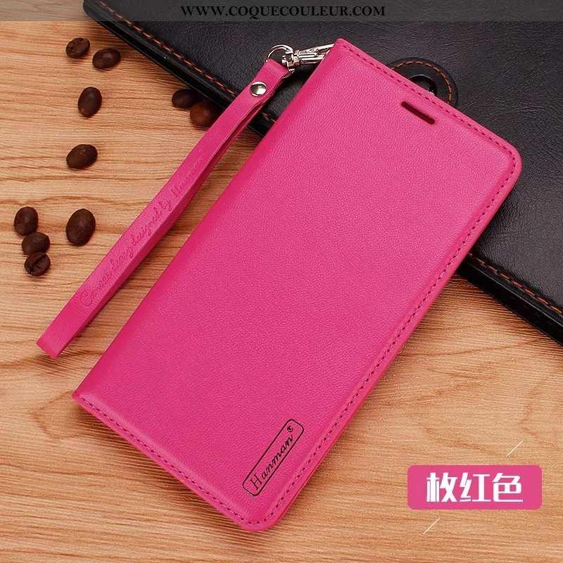 Étui Sony Xperia Xz2 Protection Téléphone Portable Coque, Coque Sony Xperia Xz2 Cuir Rouge Rose