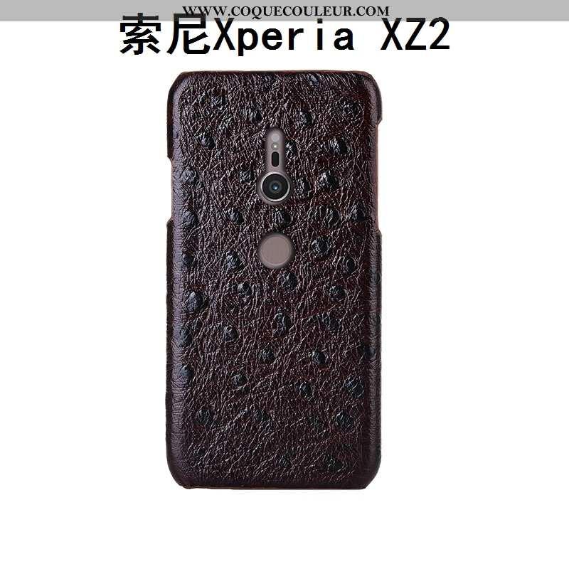 Housse Sony Xperia Xz2 Cuir Véritable Créatif Incassable, Étui Sony Xperia Xz2 Modèle Fleurie Marron