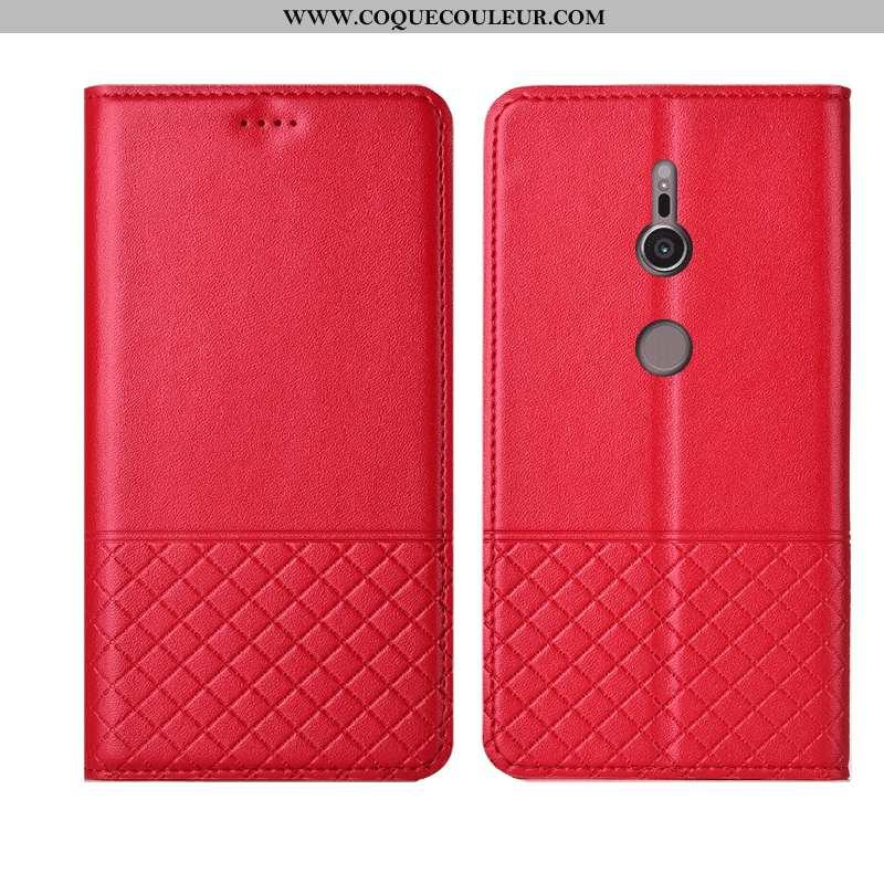 Coque Sony Xperia Xz3 Cuir Étui Housse, Housse Sony Xperia Xz3 Fluide Doux Rouge