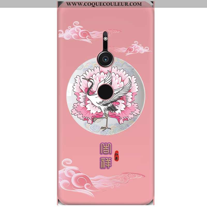 Coque Sony Xperia Xz3 Personnalité Noir Rouge, Housse Sony Xperia Xz3 Créatif Gaufrage Rose