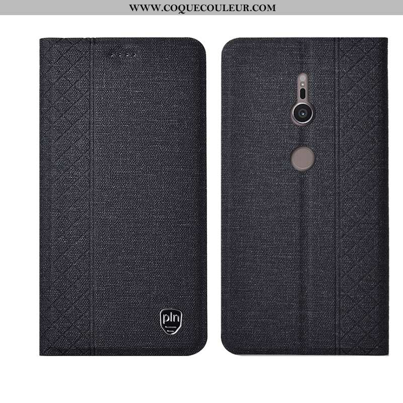 Housse Sony Xperia Xz3 Protection Cuir Plaid, Étui Sony Xperia Xz3 Cuir Véritable Fluide Doux Noir