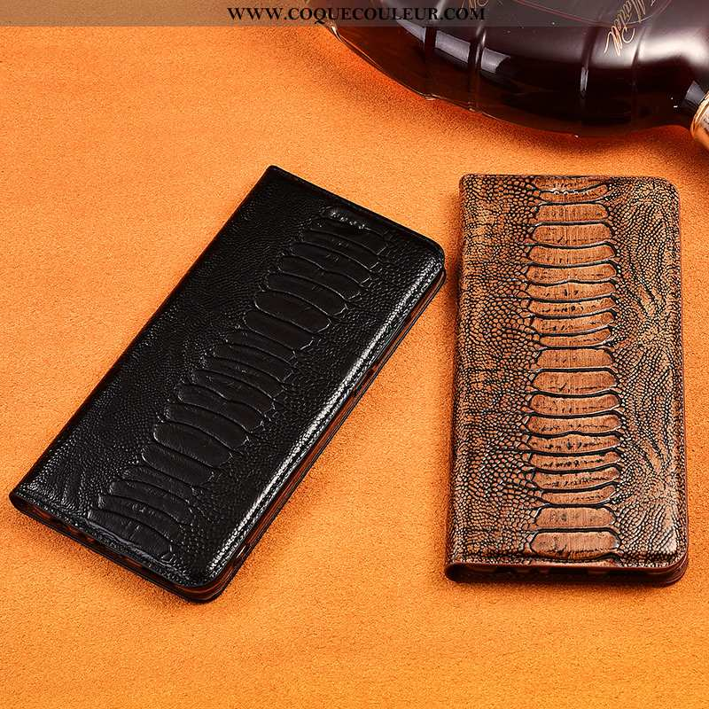 Coque Sony Xperia Xz3 Protection Clamshell Cuir, Housse Sony Xperia Xz3 Cuir Véritable Silicone Noir