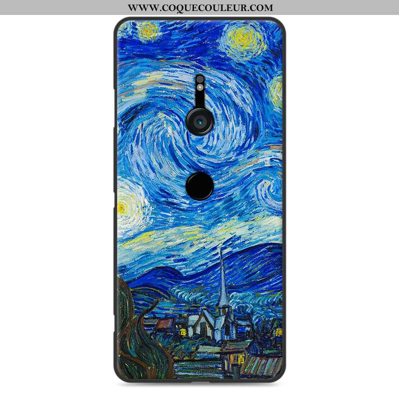 Étui Sony Xperia Xz3 Silicone Fluide Doux Paysage, Coque Sony Xperia Xz3 Protection Peinture Bleu