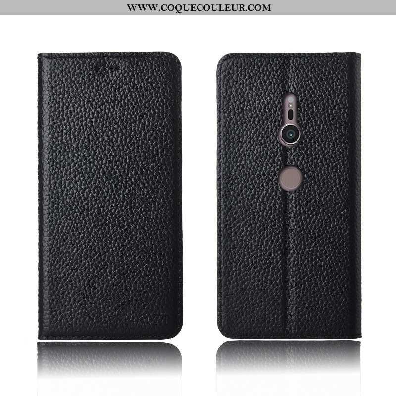 Coque Sony Xperia Xz3 Fluide Doux Cuir Véritable Cuir, Housse Sony Xperia Xz3 Silicone Noir