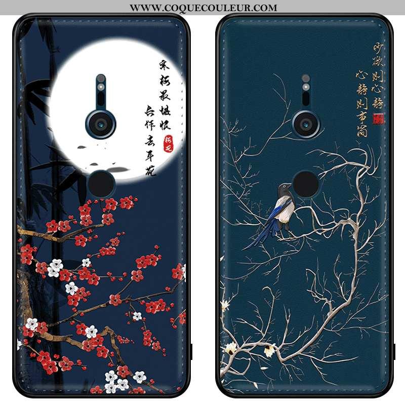 Housse Sony Xperia Xz3 Modèle Fleurie Tendance Bleu Marin, Étui Sony Xperia Xz3 Fluide Doux Amoureux