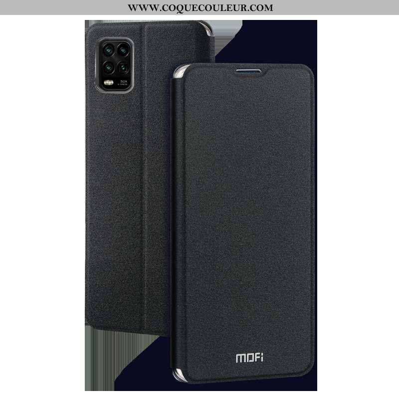 Étui Xiaomi Mi 10 Lite Ultra Incassable Cuir, Coque Xiaomi Mi 10 Lite Tendance Nouveau Noir