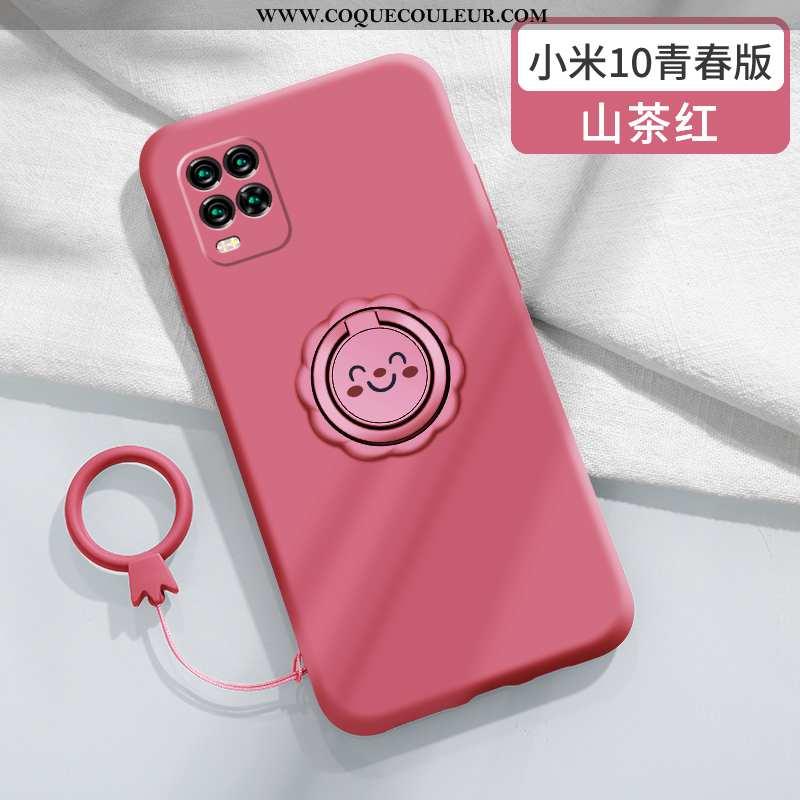Coque Xiaomi Mi 10 Lite Protection Silicone Net Rouge, Housse Xiaomi Mi 10 Lite Personnalité Fluide