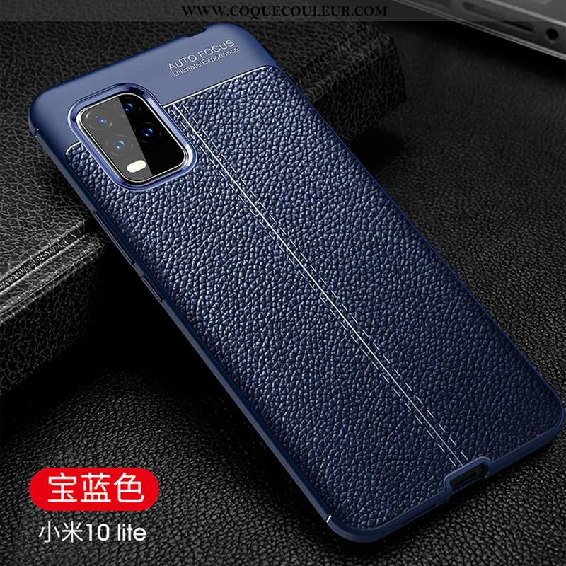 Coque Xiaomi Mi 10 Lite Fluide Doux Incassable Coque, Housse Xiaomi Mi 10 Lite Protection Pu Bleu