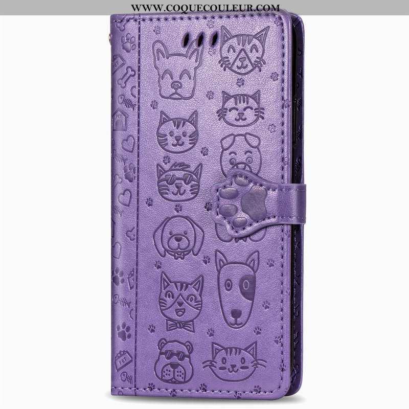 Étui Xiaomi Mi 10 Lite Gaufrage Cuir Incassable, Coque Xiaomi Mi 10 Lite Dessin Animé Chat Violet