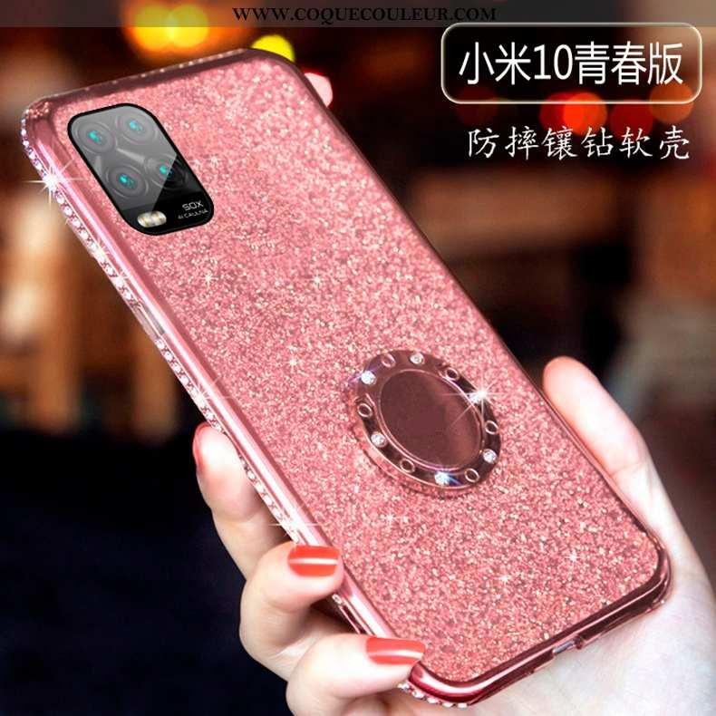 Housse Xiaomi Mi 10 Lite Fluide Doux Légère Étui, Étui Xiaomi Mi 10 Lite Silicone Jeunesse Rose