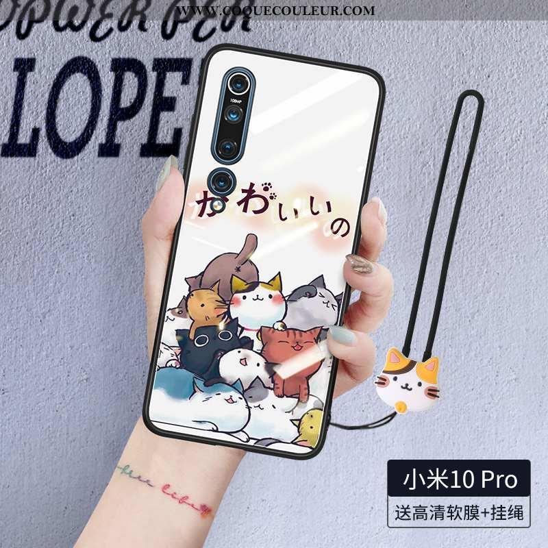 Housse Xiaomi Mi 10 Pro Silicone Créatif Incassable, Étui Xiaomi Mi 10 Pro Protection Blanc Blanche