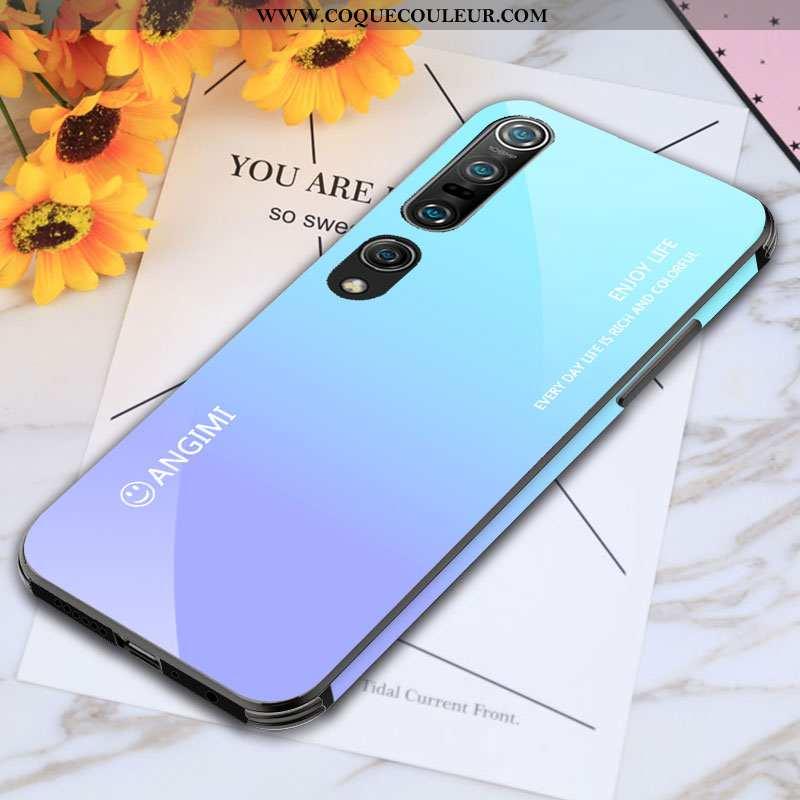 Housse Xiaomi Mi 10 Pro Verre Bleu Coque, Étui Xiaomi Mi 10 Pro Personnalité Tempérer