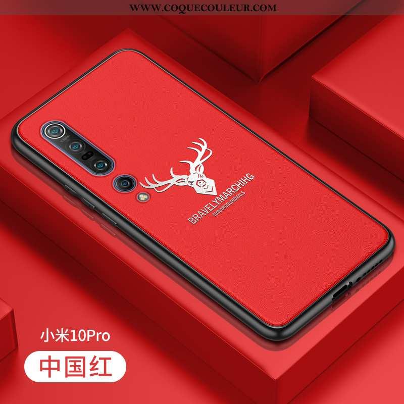 Étui Xiaomi Mi 10 Pro Cuir Silicone Étui, Coque Xiaomi Mi 10 Pro Fluide Doux Rouge