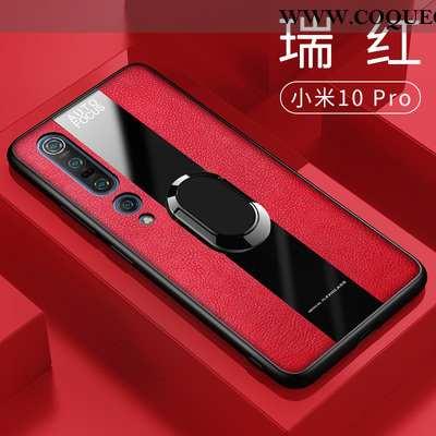 Coque Xiaomi Mi 10 Pro Silicone Magnétisme, Housse Xiaomi Mi 10 Pro Cuir Téléphone Portable Rouge