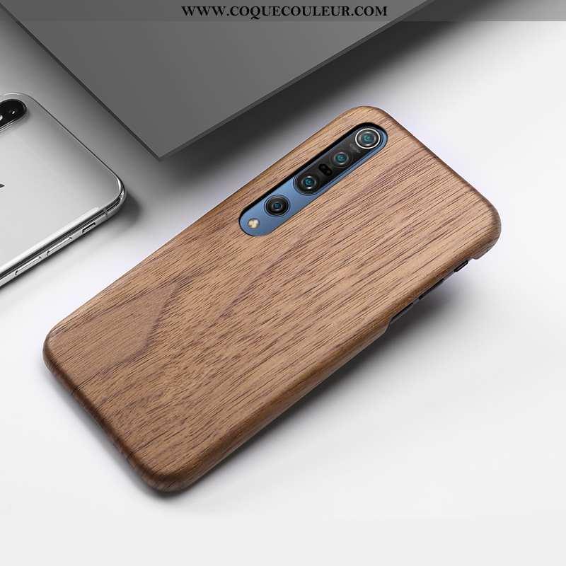 Coque Xiaomi Mi 10 Pro Créatif Étui Incassable, Housse Xiaomi Mi 10 Pro En Bois Tout Compris Marron