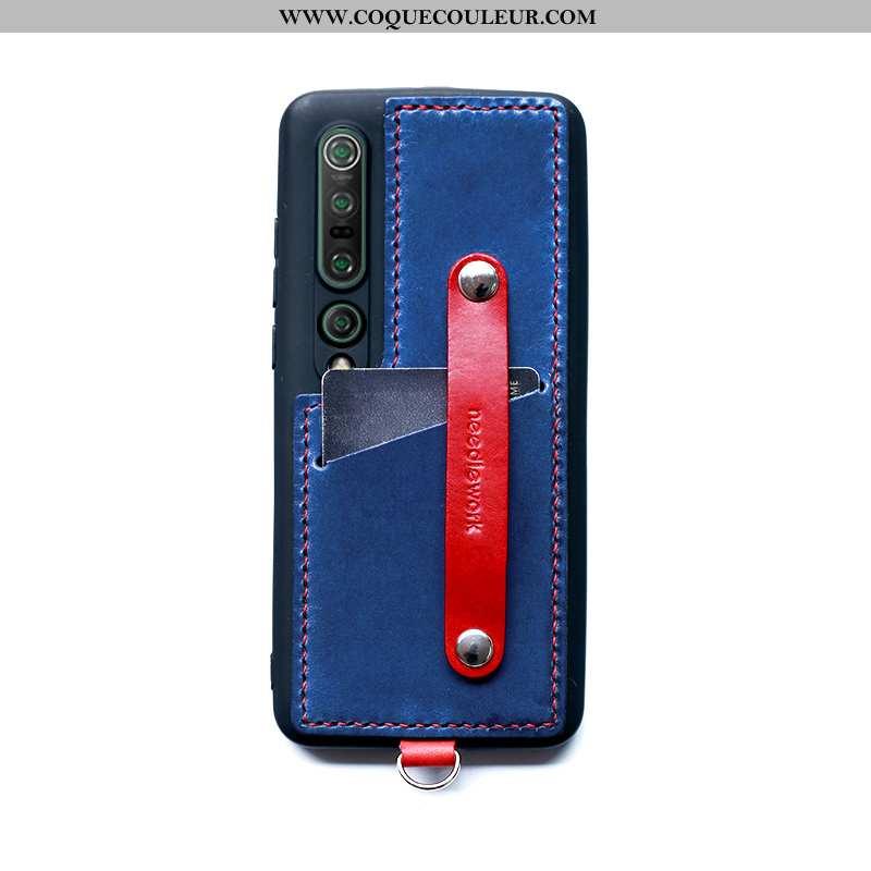 Housse Xiaomi Mi 10 Pro Cuir Border Téléphone Portable, Étui Xiaomi Mi 10 Pro Coque Bleu