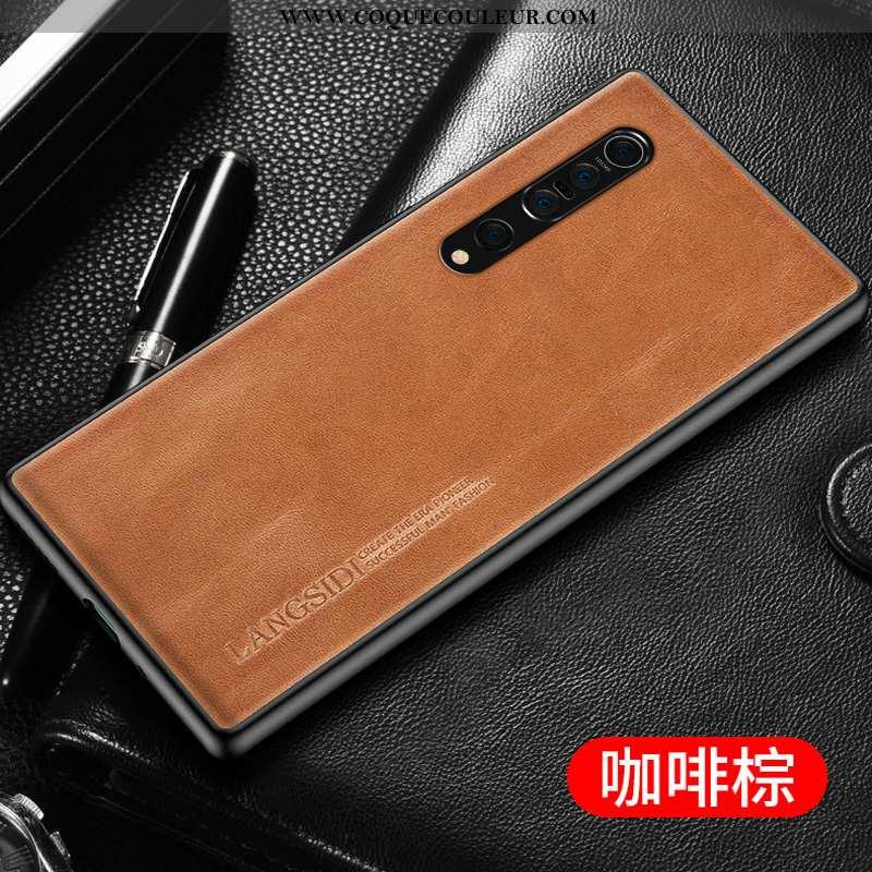 Coque Xiaomi Mi 10 Pro Cuir Véritable Simple Personnalisé, Housse Xiaomi Mi 10 Pro Ultra Tout Compri
