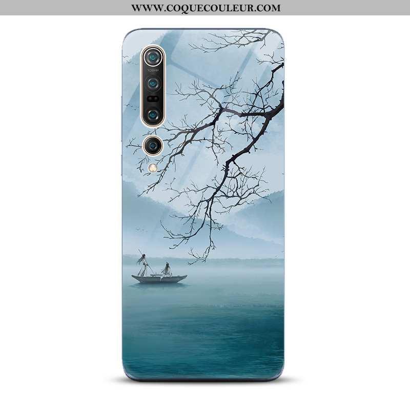 Housse Xiaomi Mi 10 Pro Verre Encre Miroir, Étui Xiaomi Mi 10 Pro Tendance Paysage Bleu