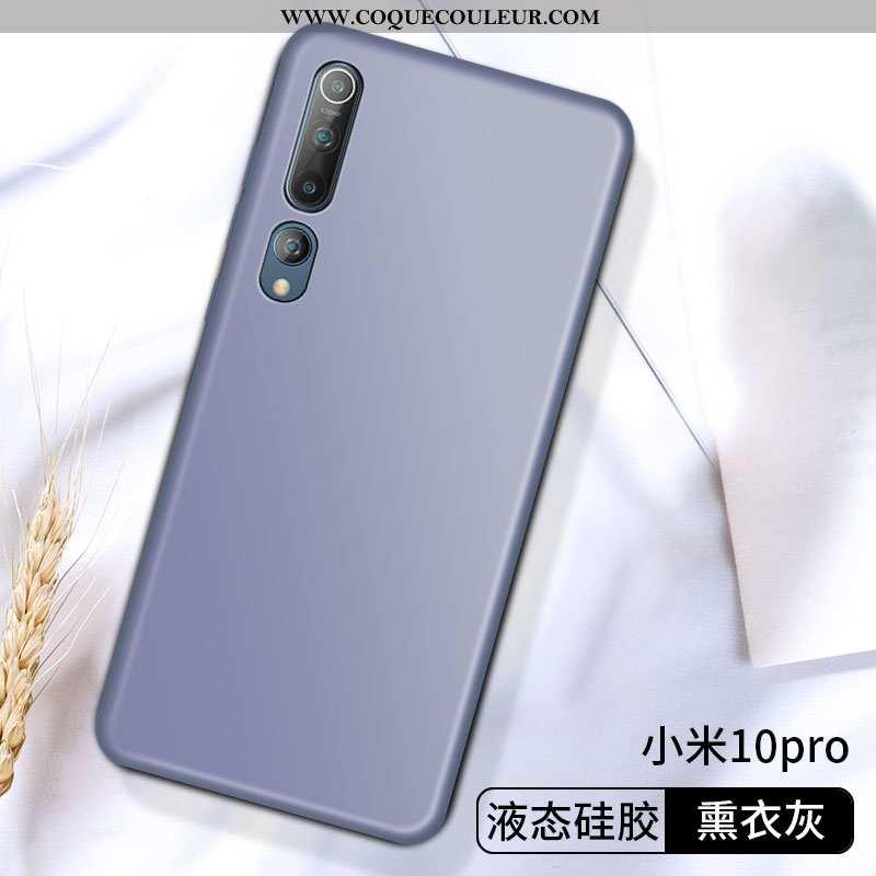 Housse Xiaomi Mi 10 Pro Légère Border Petit, Étui Xiaomi Mi 10 Pro Fluide Doux Créatif Gris