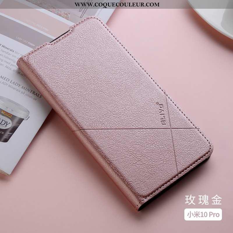 Housse Xiaomi Mi 10 Pro Cuir Coque Téléphone Portable, Étui Xiaomi Mi 10 Pro Fluide Doux Rose