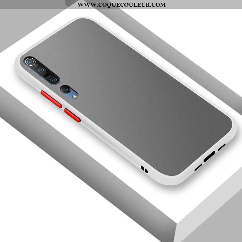 Housse Xiaomi Mi 10 Pro Délavé En Daim Blanc Incassable, Étui Xiaomi Mi 10 Pro Personnalité Téléphon