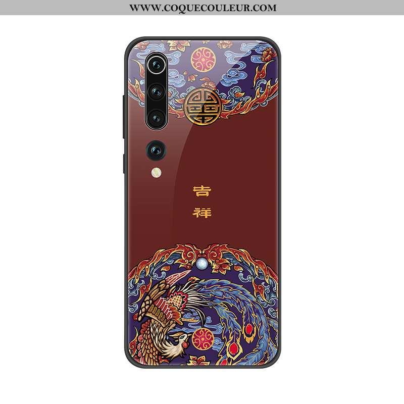 Coque Xiaomi Mi 10 Protection Luxe Personnalité, Housse Xiaomi Mi 10 Verre Mémorial Rouge
