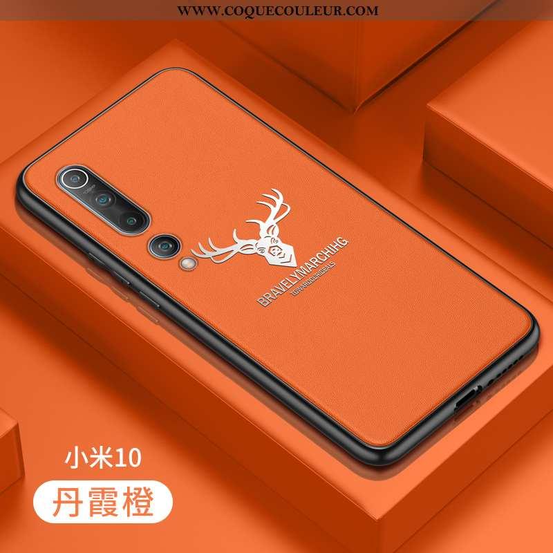 Étui Xiaomi Mi 10 Fluide Doux Incassable Étui, Coque Xiaomi Mi 10 Silicone Orange