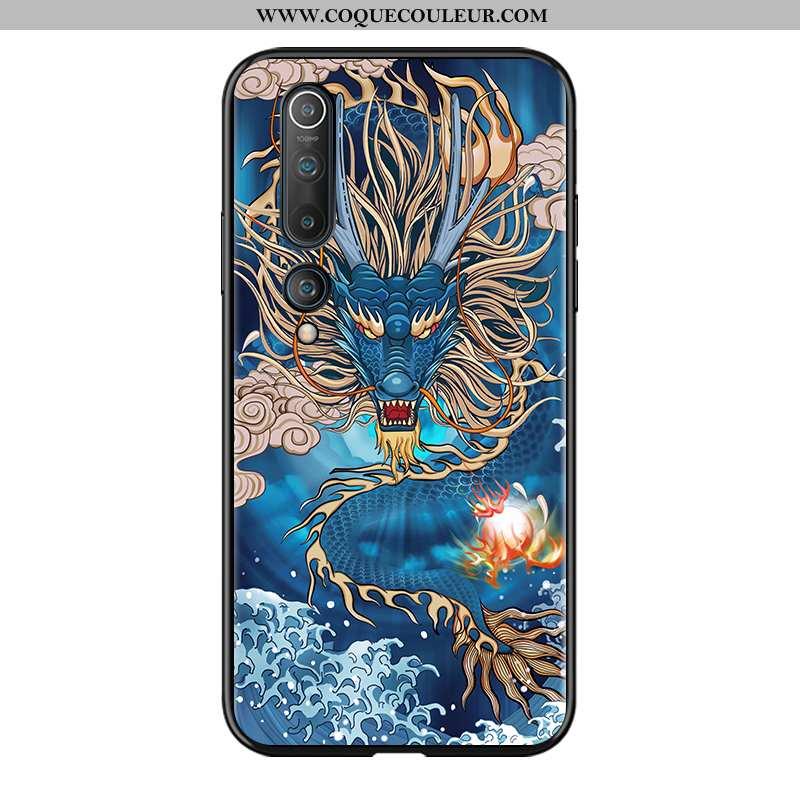 Housse Xiaomi Mi 10 Tendance Style Chinois Téléphone Portable, Étui Xiaomi Mi 10 Protection Bleu