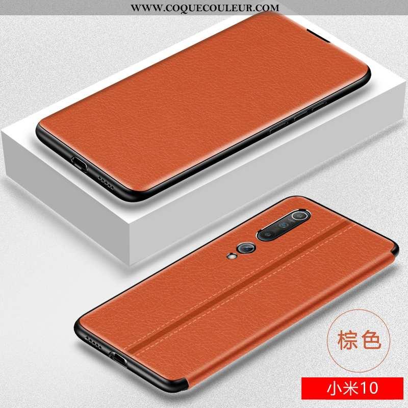 Coque Xiaomi Mi 10 Cuir Luxe Coque, Housse Xiaomi Mi 10 Fluide Doux Silicone Marron
