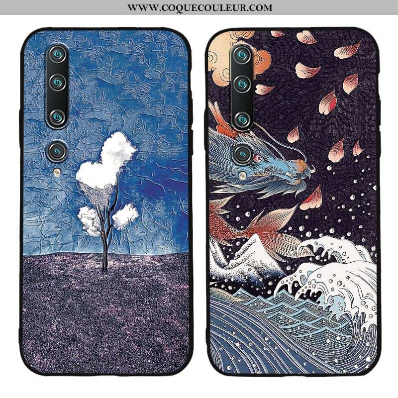 Étui Xiaomi Mi 10 Créatif Fluide Doux Protection, Coque Xiaomi Mi 10 Gaufrage Tendance Bleu