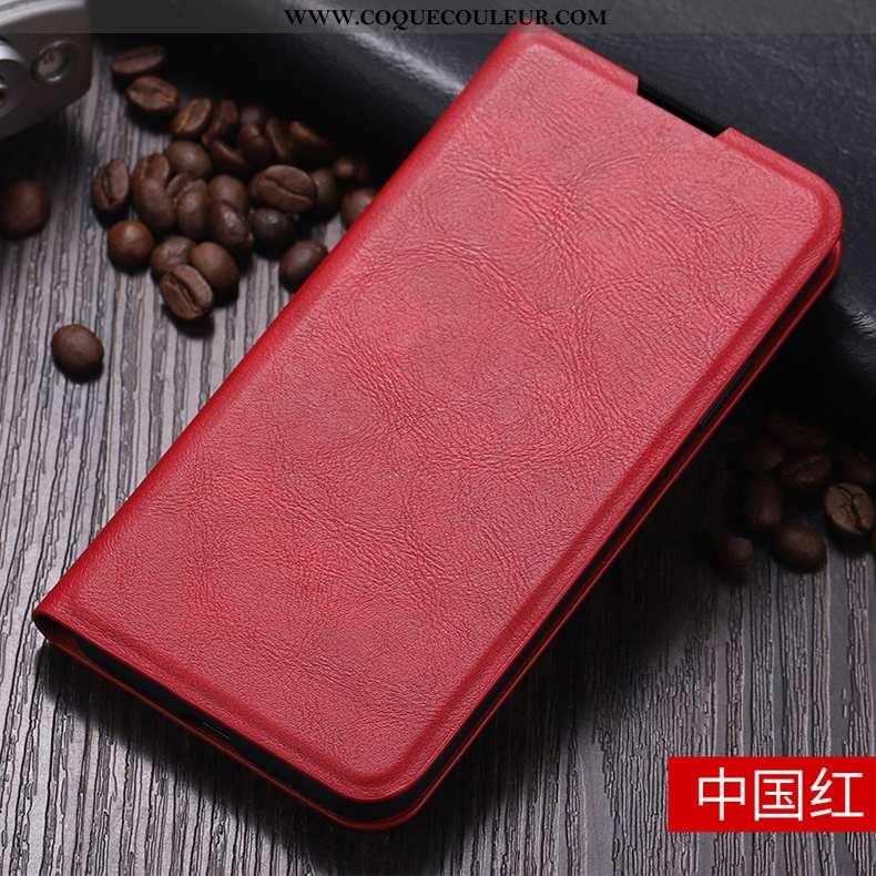 Étui Xiaomi Mi 10 Fluide Doux Business, Coque Xiaomi Mi 10 Protection Vintage Rouge