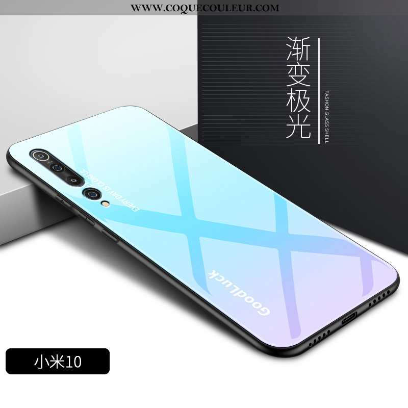 Étui Xiaomi Mi 10 Verre Coque Bleu, Xiaomi Mi 10 Personnalité Silicone Bleu