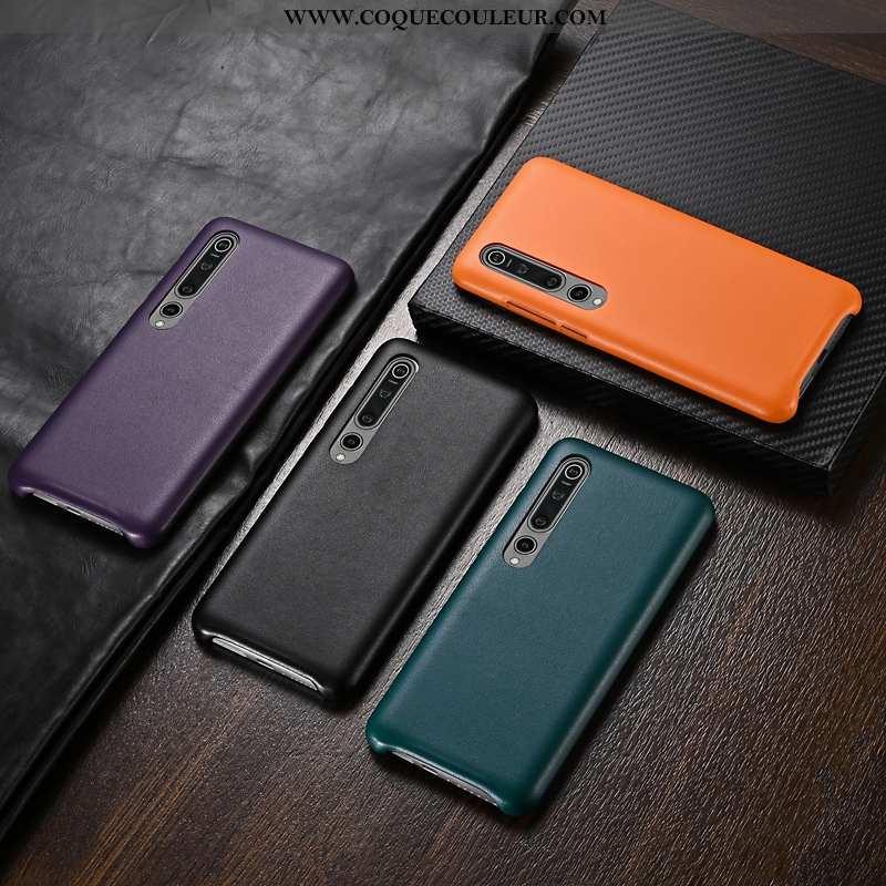 Étui Xiaomi Mi 10 Délavé En Daim Légère Téléphone Portable, Coque Xiaomi Mi 10 Personnalité Orange