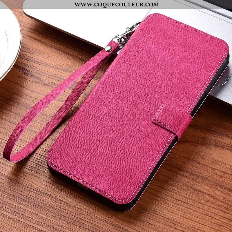 Étui Xiaomi Mi 10 Cuir Rouge, Coque Xiaomi Mi 10 Protection Téléphone Portable Rose