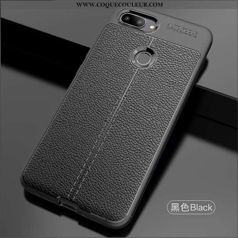 Étui Xiaomi Mi 8 Lite Cuir Coque Noir, Xiaomi Mi 8 Lite Modèle Fleurie Litchi Noir