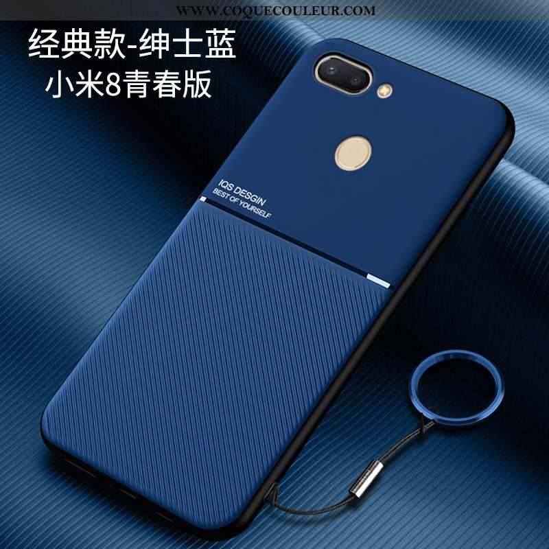 Étui Xiaomi Mi 8 Lite Délavé En Daim Modèle Fleurie Bleu, Coque Xiaomi Mi 8 Lite Personnalité Silico