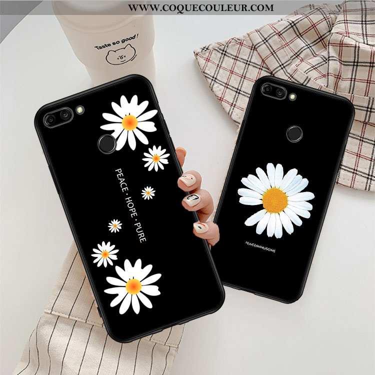 Coque Xiaomi Mi 8 Lite Tendance Amoureux Simple, Housse Xiaomi Mi 8 Lite Fluide Doux Jeunesse Noir
