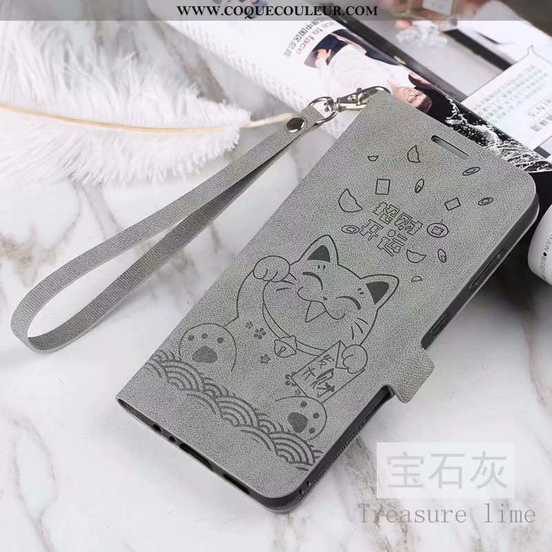 Housse Xiaomi Mi 8 Lite Vintage Modèle Fleurie Incassable, Étui Xiaomi Mi 8 Lite Cuir Clamshell Gris