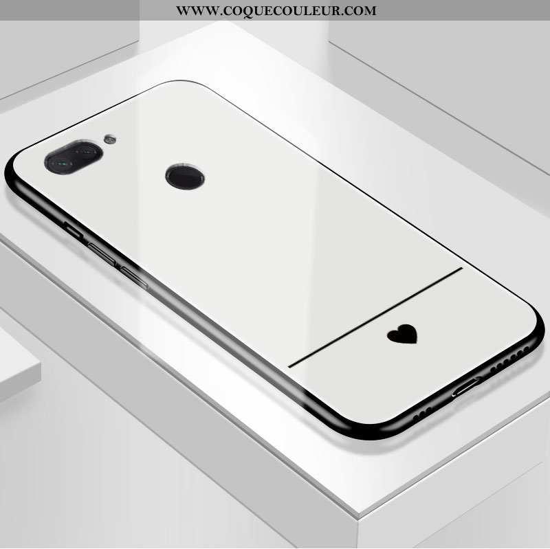 Étui Xiaomi Mi 8 Lite Protection Petit Coque, Coque Xiaomi Mi 8 Lite Verre Blanche