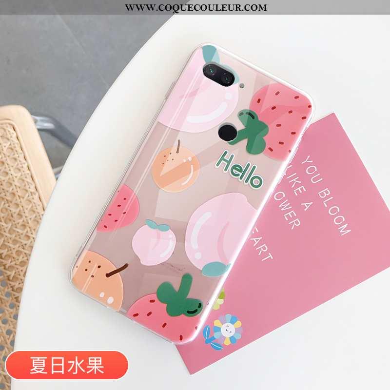 Housse Xiaomi Mi 8 Lite Tendance Amoureux Fruit, Étui Xiaomi Mi 8 Lite Protection Transparent Rose