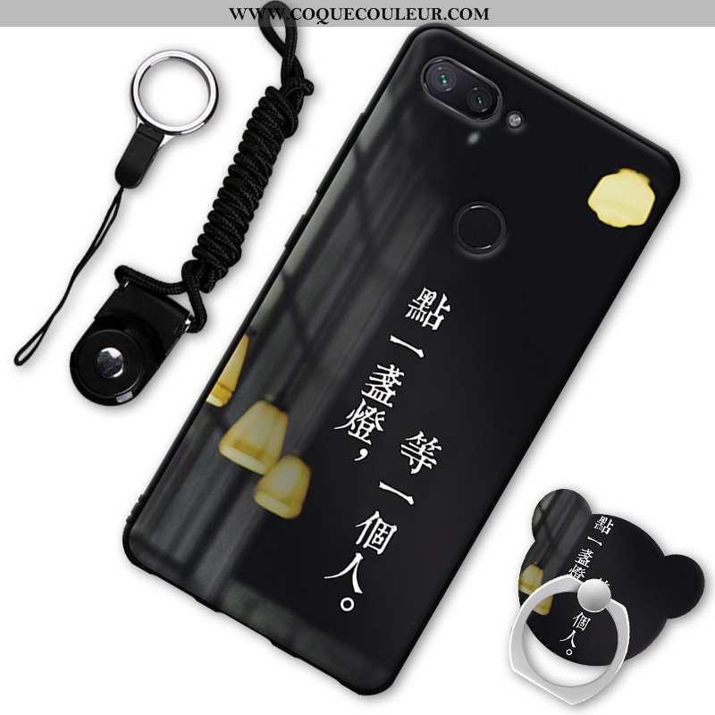 Housse Xiaomi Mi 8 Lite Protection Incassable Petit, Étui Xiaomi Mi 8 Lite Fluide Doux Jeunesse Noir