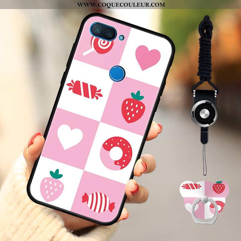Étui Xiaomi Mi 8 Lite Fluide Doux Dessin Animé Rose, Coque Xiaomi Mi 8 Lite Délavé En Daim Téléphone