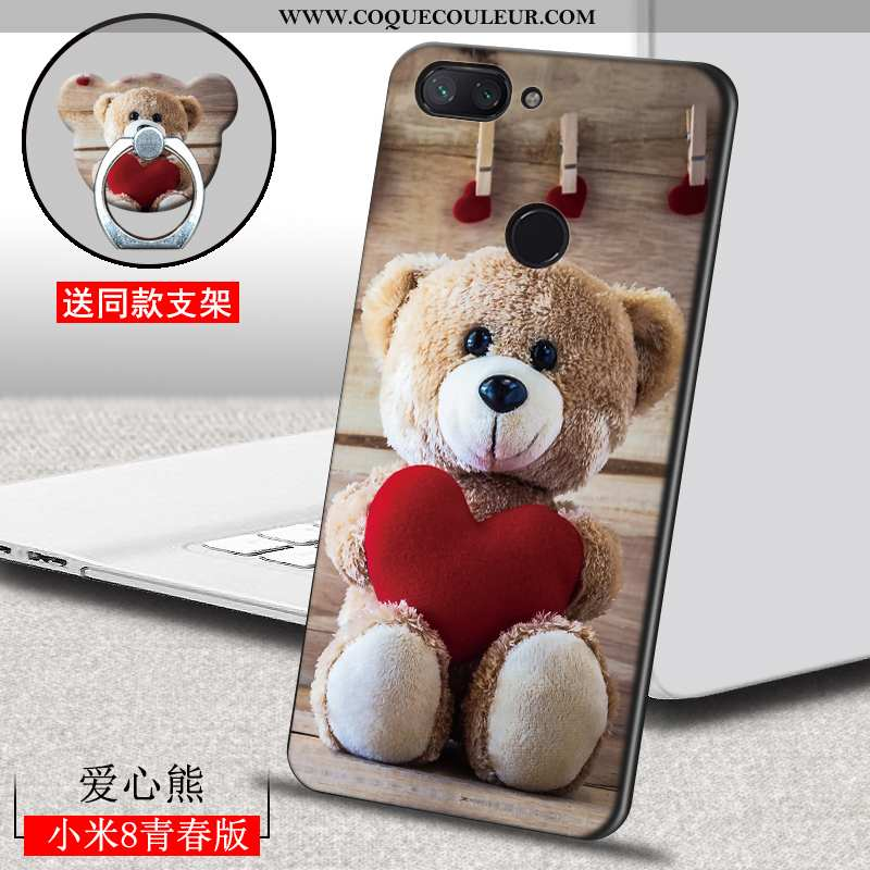 Coque Xiaomi Mi 8 Lite Dessin Animé Étui, Housse Xiaomi Mi 8 Lite Ultra Créatif Marron